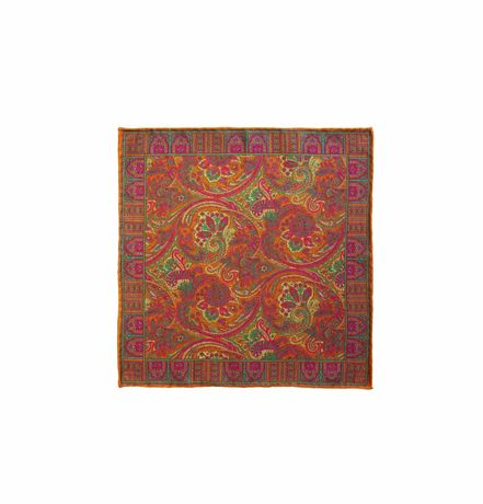 Double-sided red with cats patterns Calabrese 1924 hand-tipped Pocket square