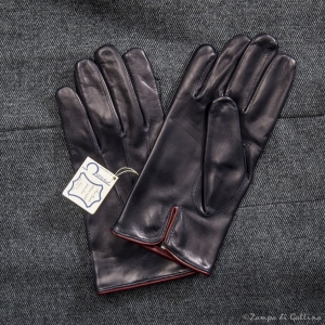 Navy lambskin gloves with silk lining