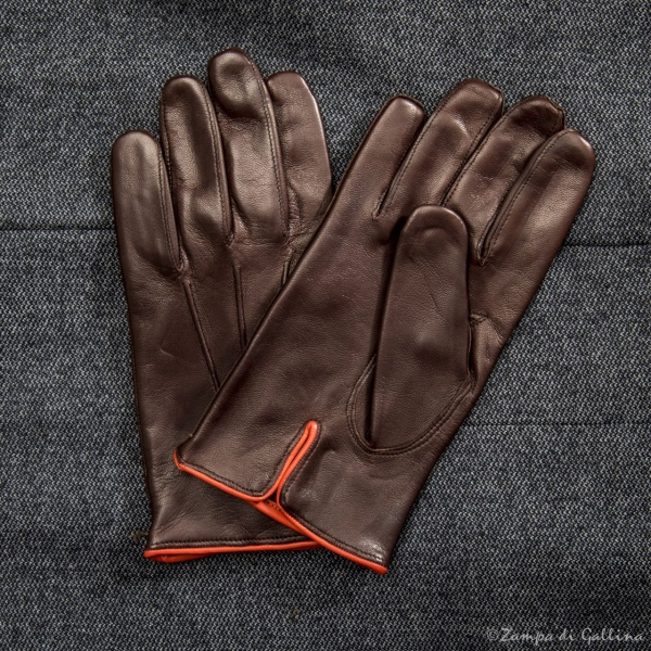 Gold lambskin gloves with silk lining