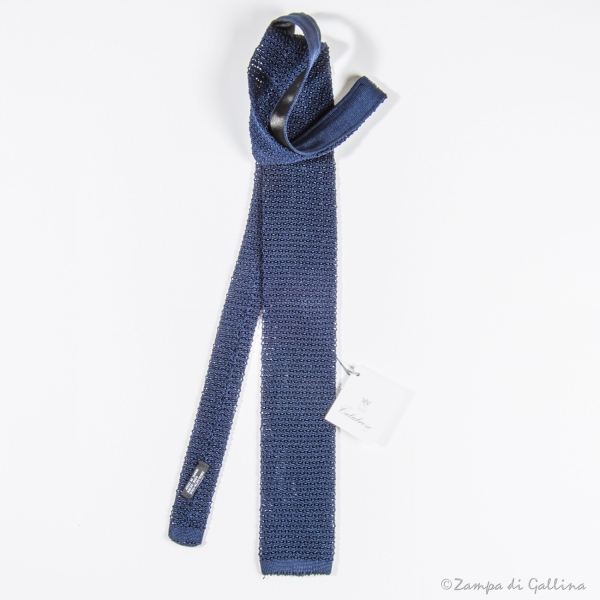 Denim blue Calabrese 1924 100% silk knitted necktie