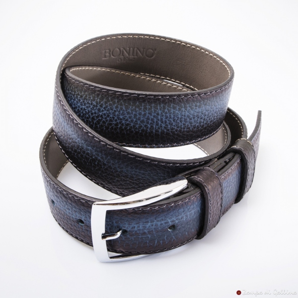 Blue with Patina leather belt