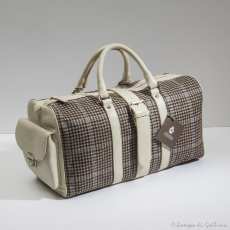 Leather and wool handbags