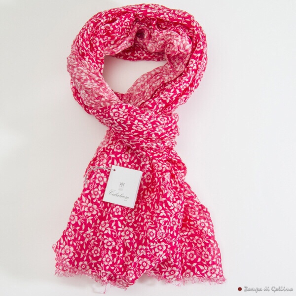 Rose with flower patterns Calabrese 1924 Linen Scarf