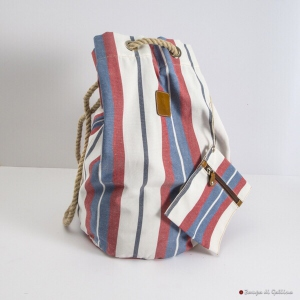 Sac marin Calabrese 1924 à rayures bleues, blanches et rouges