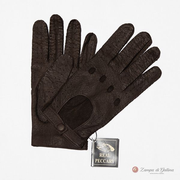 Unlined Handstitched Brown Genuine Peccary Driving Gloves Omega Guanti