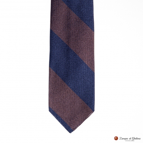 Unlined Blue and Brown Fine Garza Francesco Marino Napoli Repp Tie