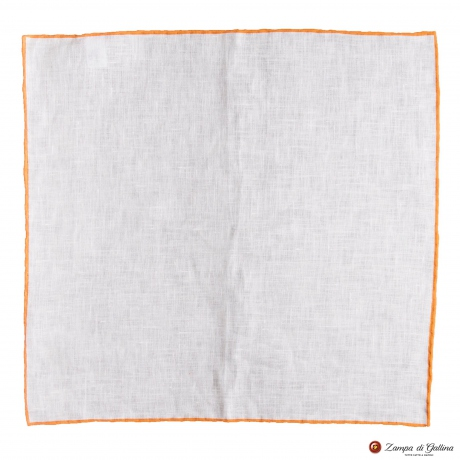 White linen with orange edge  hand-tipped Pocket square Francesco Marino