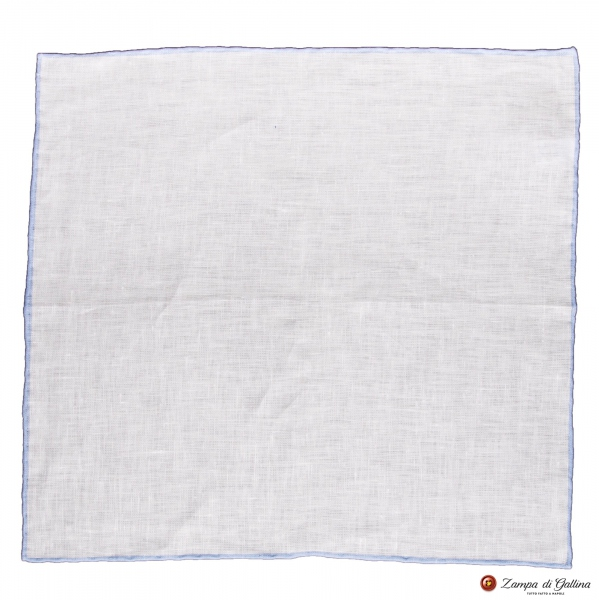 White linen with light blue edge  hand-tipped Pocket square Francesco Marino