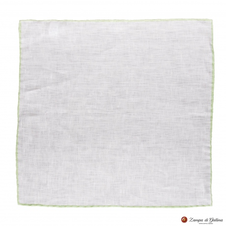 White linen with green edge  hand-tipped Pocket square Francesco Marino