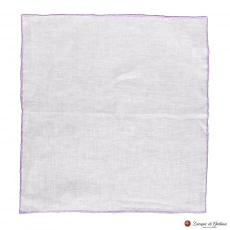 White linen with violet edge hand-tipped Pocket square Francesco Marino
