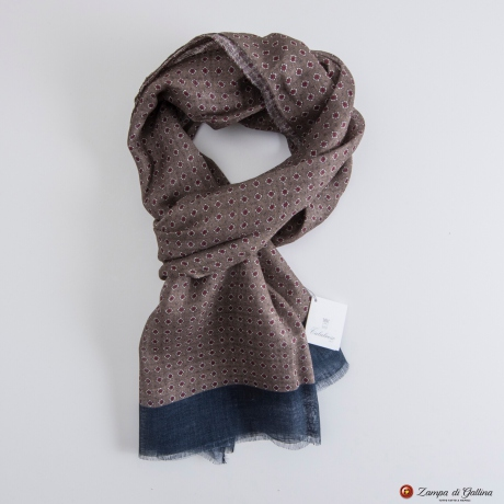 Taupe Calabrese Linen Scarf with red dots
