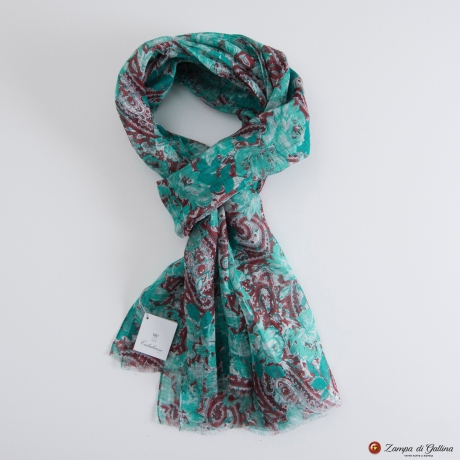 Green with Flower Patterns Calabrese 1924 Linen Scarf