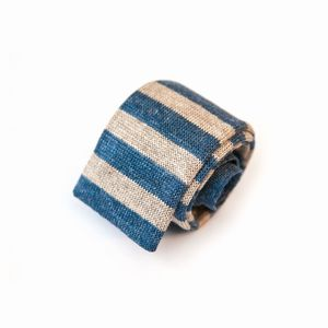 Beige and blue Calabrese 1924 Linen and silk Knitted necktie