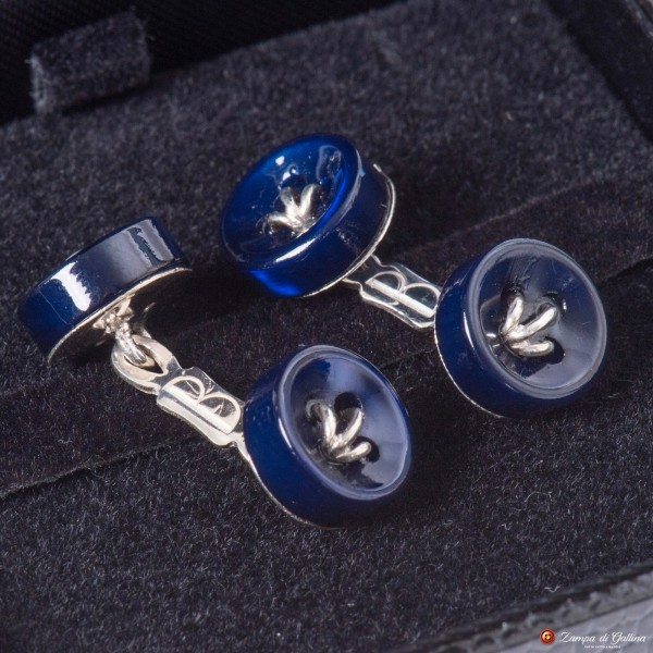 Blue Cufflinks Mother-of-pearl and Silver