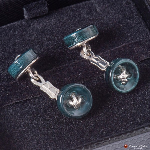 Green Cufflinks Mother-of-pearl and Silver