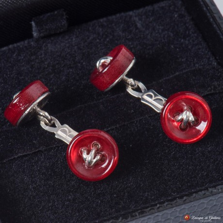 Burgundy Cufflinks Mother-of-pearl and Silver