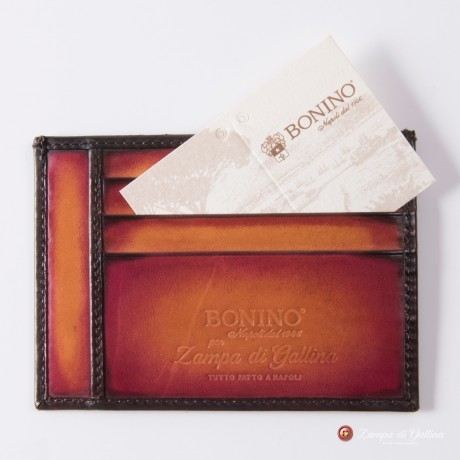 Porte-cartes Bonino X Emilie Patine orange sanguine