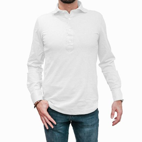 Polo camicia bianca in cottone stretch slim fit