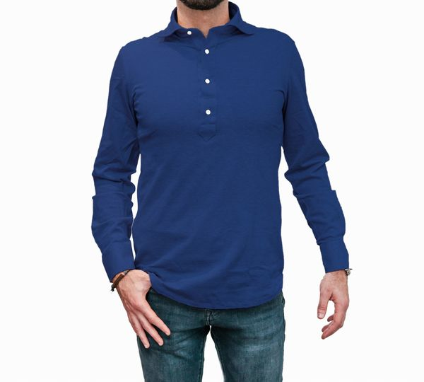 Polo camicia blu in cottone stretch