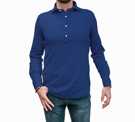 Polo camicia blu in cottone stretch slim fit