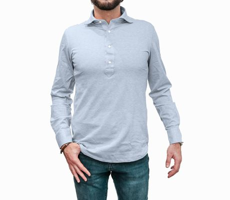 Long Sleeve Light Blue Polo Shirt in Mercerized Cotton