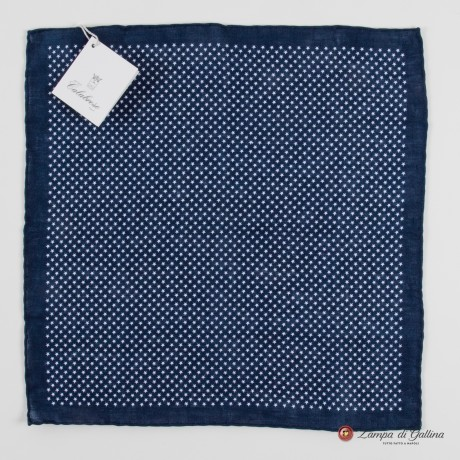 Blue with star patterns hand-tipped pocket square 100% linen