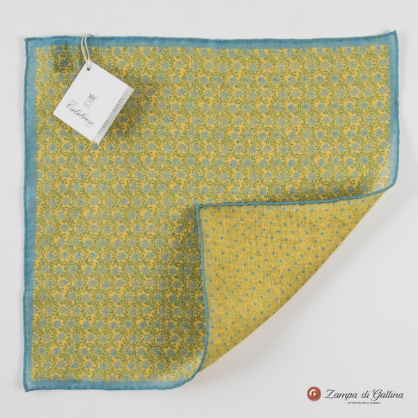 Light green with flower patterns hand-tipped pocket square 100% linen