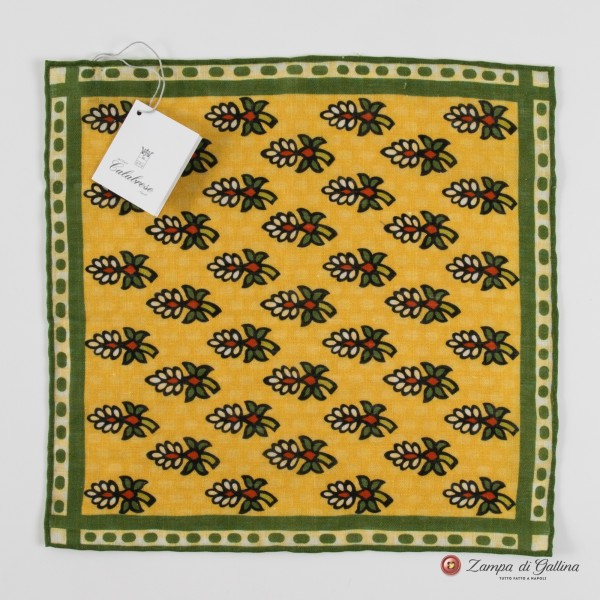 Mustard with green flower patterns hand-tipped pocket square 100% linen