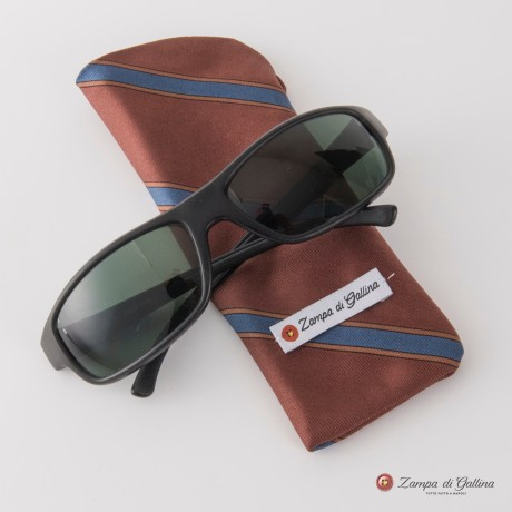 Brown with blue stripes Eyewear Pocket Square