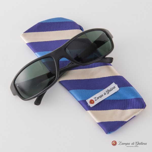 Wihte, violet and blue striped Eyewear Pocket Square