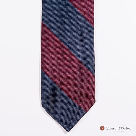 Unlined Blue and Burgundy Fine Garza Francesco Marino Napoli Repp Tie