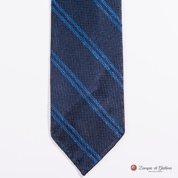 Unlined Blue Striped Fine Garza Francesco Marino Napoli Repp Tie