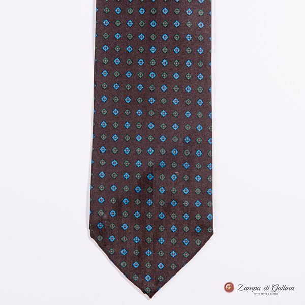 Unlined Brown with Ancient Madder Patterns Francesco Marino Napoli Tie