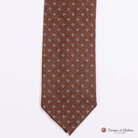 Unlined Light Brown with Ancient Madder Patterns Francesco Marino Napoli Tie