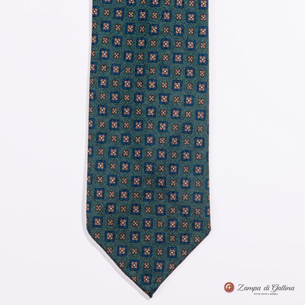Unlined Green with Ancient Madder Patterns Francesco Marino Napoli Tie