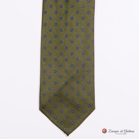 Unlined Khaki Green with Ancient Madder Patterns Francesco Marino Napoli Tie