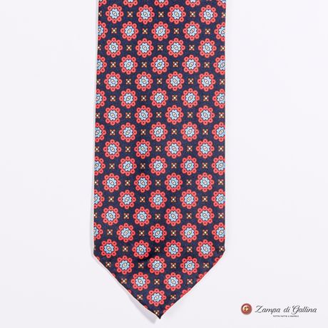 Unlined Burgundy with Ancient Madder Patterns Francesco Marino Napoli Tie