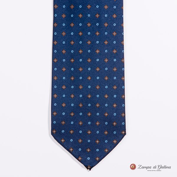 Unlined Marine Blue with Ancient Madder Patterns Francesco Marino Napoli Tie