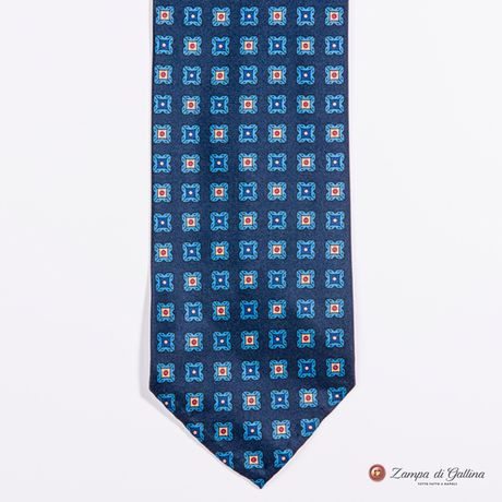 Unlined Prussian Blue with Ancient Madder Patterns Francesco Marino Napoli Tie
