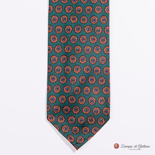 Unlined Imperial Green with Ancient Madder Patterns Francesco Marino Napoli Tie