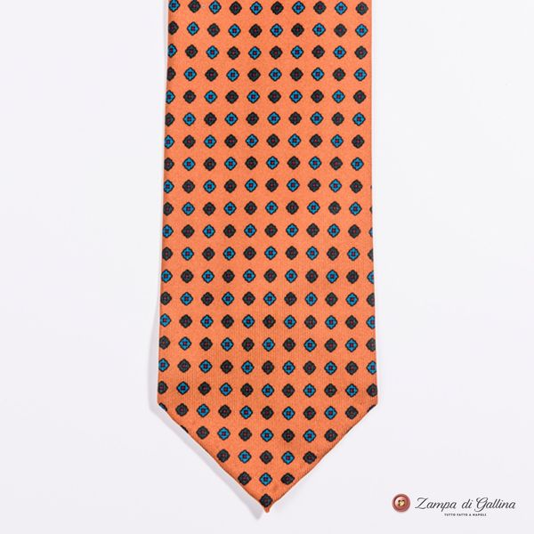 Unlined Tangerine with Ancient Madder Patterns Francesco Marino Napoli Tie