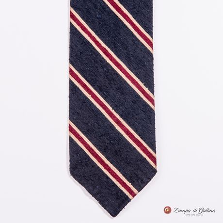 Unlined Blue and Red Shantung Francesco Marino Napoli Repp Tie