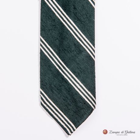 Unlined Green and White Shantung Francesco Marino Napoli Repp Tie