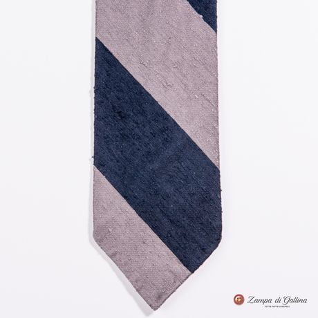 Unlined Blue and Grey Shantung Francesco Marino Napoli Repp Tie