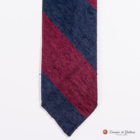 Unlined Blue and Burgundy Shantung Francesco Marino Napoli Repp Tie