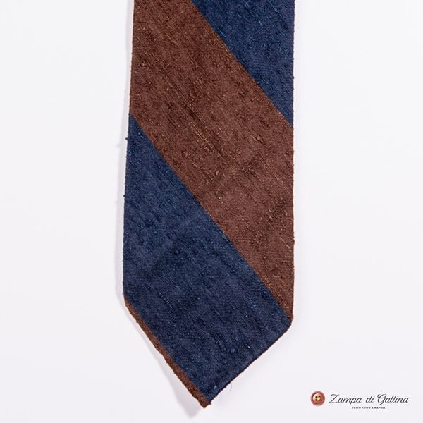 Unlined Blue and Brown Shantung Francesco Marino Napoli Repp Tie