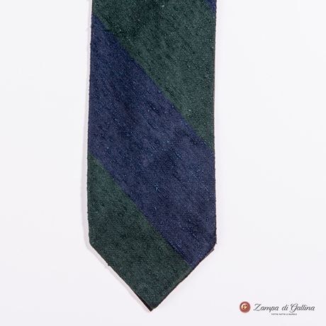 Unlined Blue and Green Shantung Francesco Marino Napoli Repp Tie