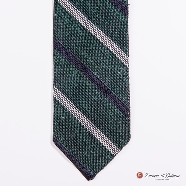 Unlined Green and Blue  Large Shantung Garza Francesco Marino Napoli Repp Tie
