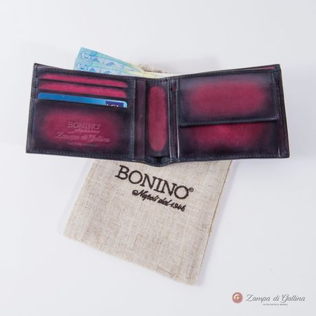 Bonino X Emilie Patine Burgundy Patina leather billfold wallet with coin pocket