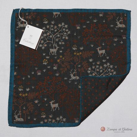 Green with patterns Calabrese 1924 Pocket square hand-tipped